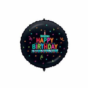 Procos Fóliový balón - Kruh Konfety Happy Birthday - čierny 46 cm