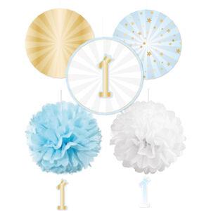 Amscan Visiaca dekorácia - 1. narodeniny, rozety, modré
