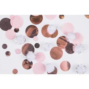 Amscan Konfety - ružovozlaté s plyšovými pompomami