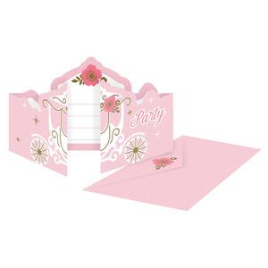 Amscan Pozvánky Ružový zámok/Labuť 8 ks