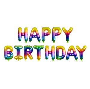 PartyDeco Fóliový balón Happy Birthday - dúhový