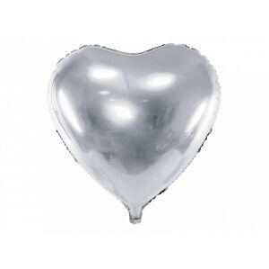PartyDeco Fóliový balón srdce - strieborné 45 cm