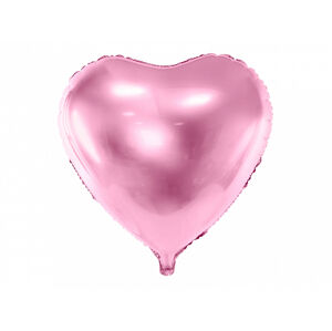 PartyDeco Fóliový balón srdce - svetloružové 45 cm