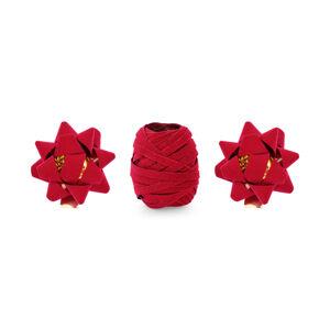 PartyDeco Vianočná stuha a mašle na darčeky - červené