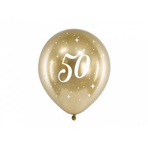PartyDeco Latexové balóniky - zlaté číslo 50 6 ks