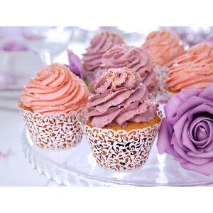 PartyDeco Biele košíčky na muffiny s ornamentom